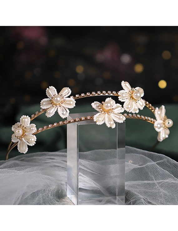 The Gold-Toned Two Strand Floral Headband