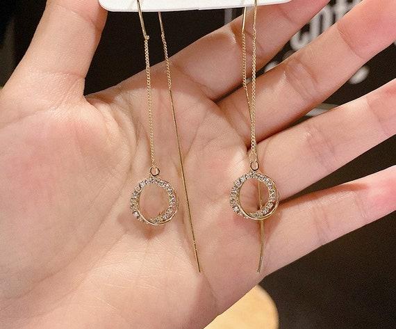 The Whispy Circle Rhinestone Earrings