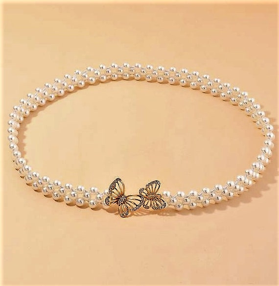 The Two Strand Butterfly Pearl Bridal Belt in Gold
