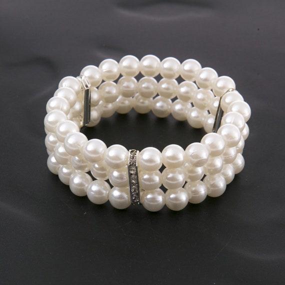 The Three Layered Pearl & Rhinestone Bridal Bracelet