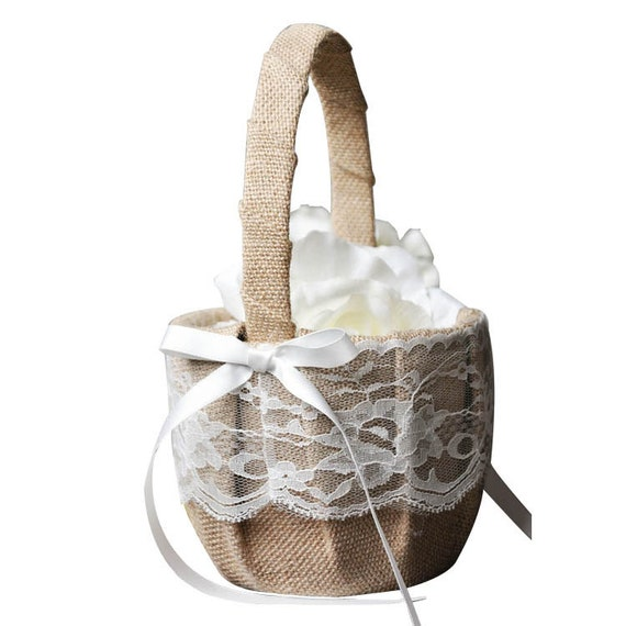 The Linen And Lace Flower Girl Basket