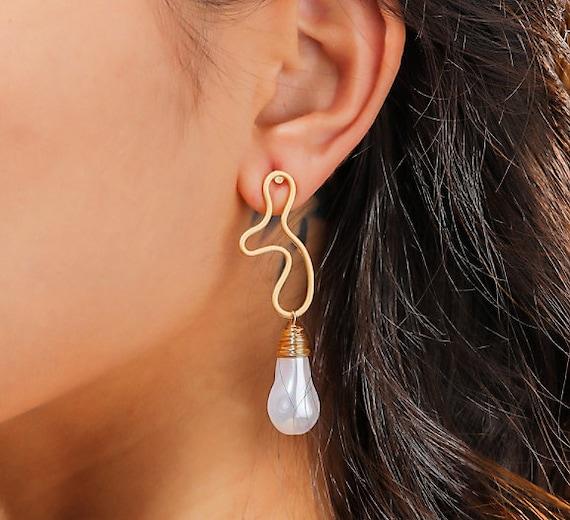The Golden Encased Pearl Earring