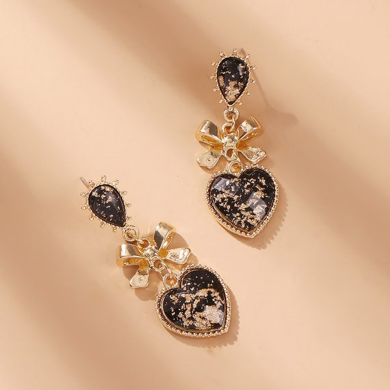 The Bow and Heart Earrings