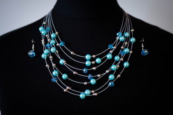 The Aqua Shimmer Pearl Necklace Set