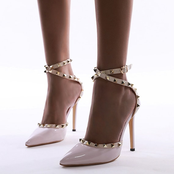 The Strawberries and Cream Studded Bridal Shoe