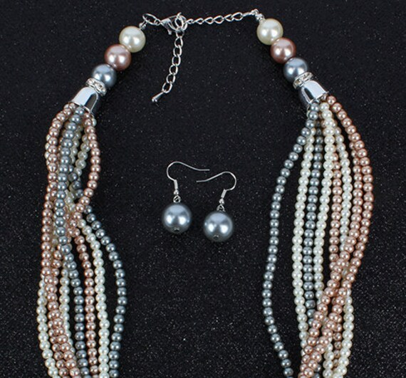 The Tri-Coloured Coiled Pearl Necklace Set
