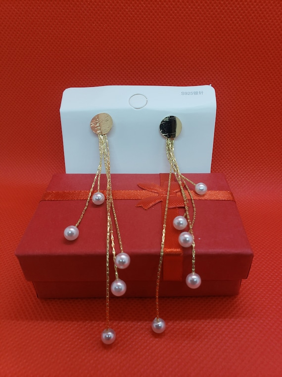 The Gold and Pearl Waterfall Earrings