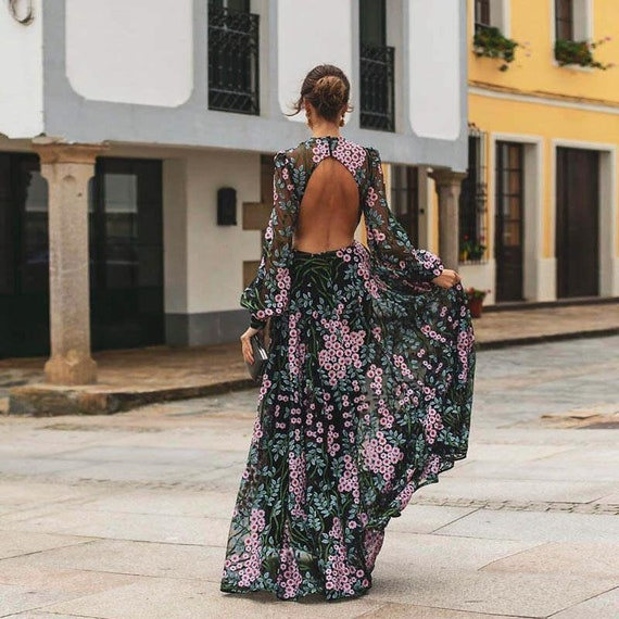 The Backless Chiffon Floral Wedding Gown