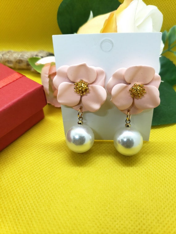 The Pink Flower and Pearl Earring