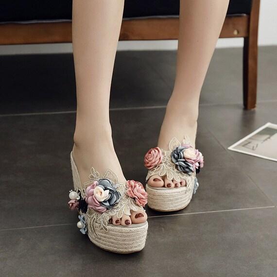 The Floral Appliqued Linen and Lace Platform Sandal