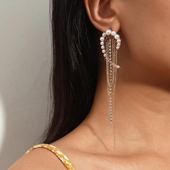The Waterfall Pearl And Rhinestone Earrings