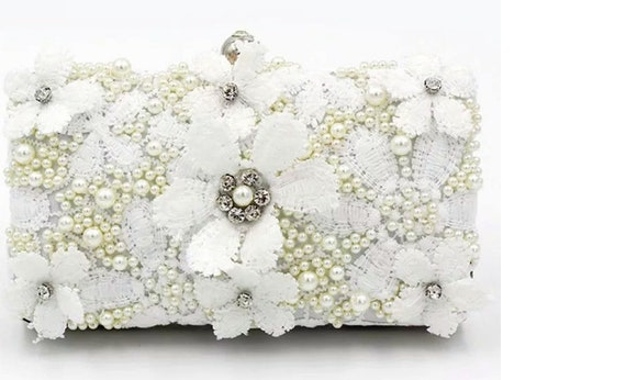 The Silk And Pearl Beaded Floral Clutch