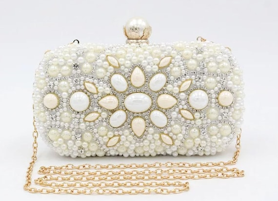 The Detailed Faux Pearl and Zirconia Diamond Bridal Clutch