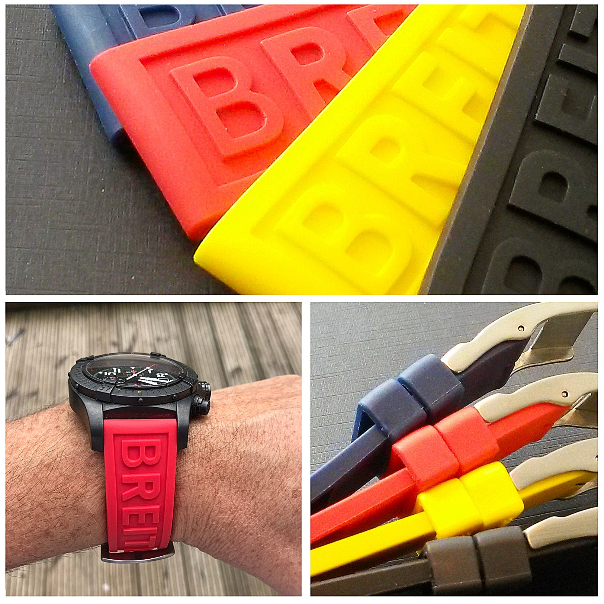 For Breitling Watch 22mm/24mm High Quality Replacement Silicone Rubber Strap With Steel Buckle