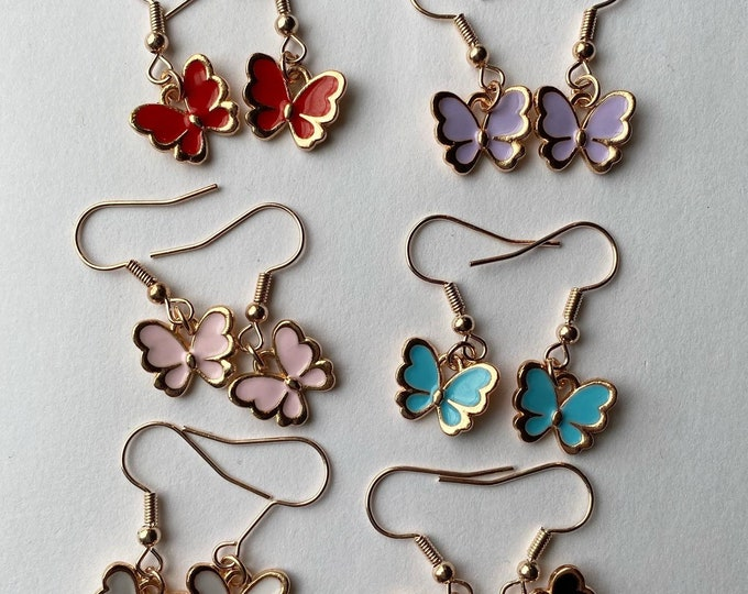 Black Rose Gold  Butterfly Metal Hook Jewelry Hypoallergenic Nickel Lead-Free Pink Light Blue Red Lilac White Rose Gold Butterflies