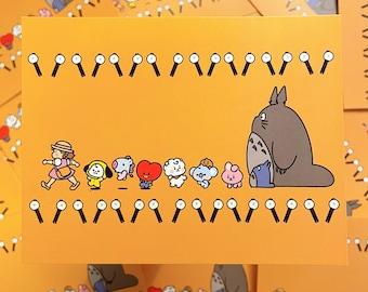 BTS BT21 Totoro Postcard & Sticker