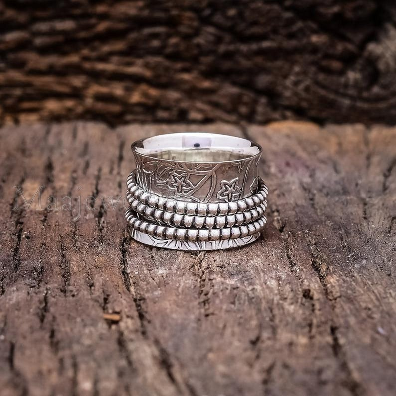 Anxiety Ring Pearl Ring Designer Flower Ring 925 Sterling Silver Spinner Ring Ring For Women Fidget Ring Antique Ring Band Ring