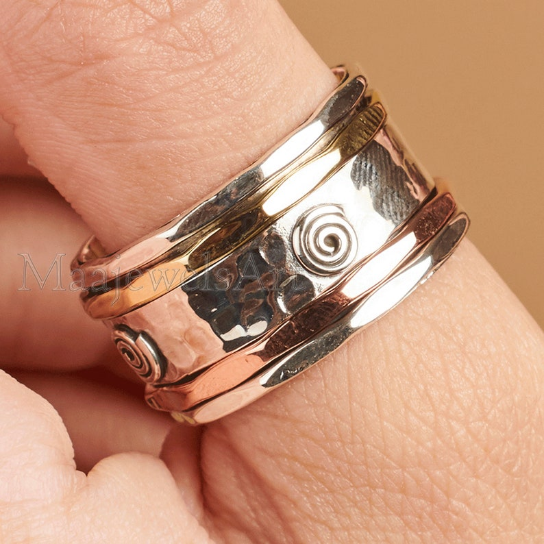 Spinner Ring* 925 Solid Sterling Silver Ring* Bohemian Ring* Most Popular Ring*  Worry Ring* Thumb Ring* Fidget Spinner Ring* Gift For Women