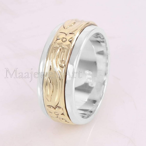Silver Spinner Ring* Meditation Wide Band* Spinner Rings For Women* Boho Spinner Ring* Worry Ring* Handmade Jewelry* Christmas Jewelry