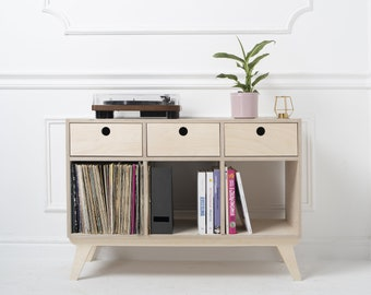 Record Player Stand - Turntable stand - Record Console - Credenza - Record vinyl storage - Sideboard Cabinet