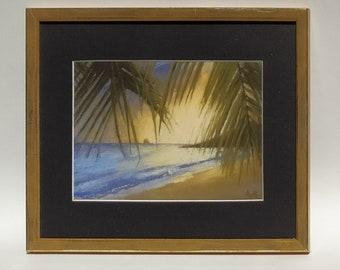 Tropical sunset - original pastel signed and framed