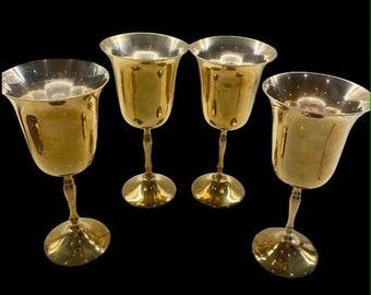 Set 4 ~ Vintage Brass Goblets