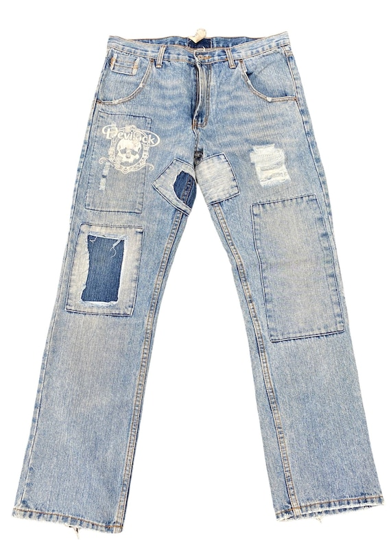 devilock patchwork jeans japanese brand distressed