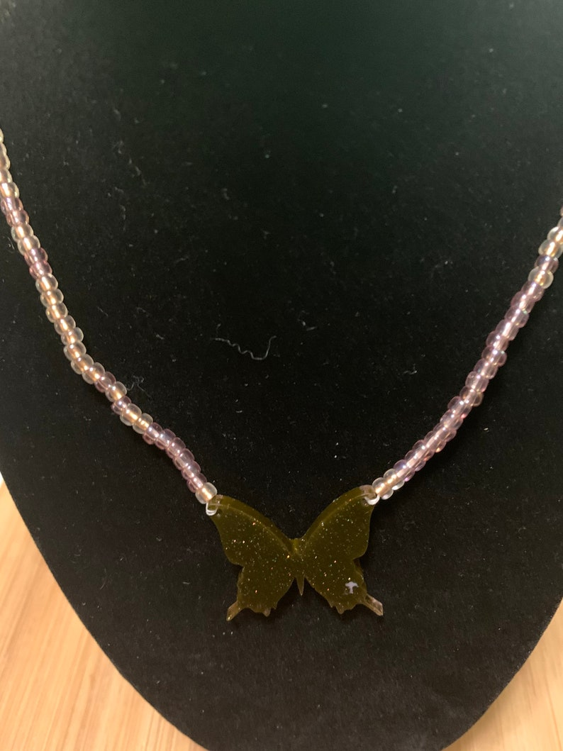 Brown Resin Butterfly Necklace