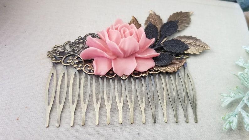 Vintage Style Bronze Hair comb Peach Garden Rustic Wedding Rose Flower