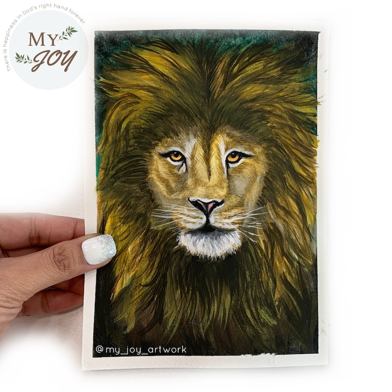 Lion/'s face,5x7 MATTED Gouache Painting A perfect addition to any little space in your home! White 8x10 MAT