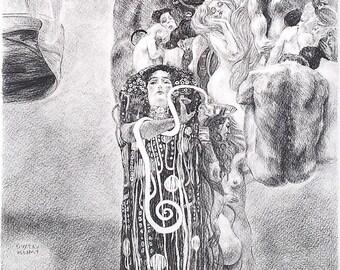MEDICINE by Gustav Klimt , Copy , Charcoal on Paper , 90x60cm , 2021