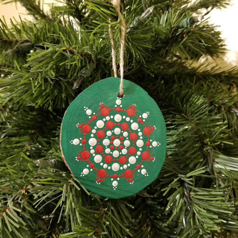 Hand Painted Green Red White Dot Mandala Holiday Ornament Birthday Gift Holiday Home Decor