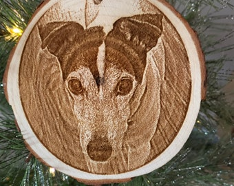 """wood slice, Custom engraving, Your pet engraved on an ornament, """"in memory of"""" on back."""