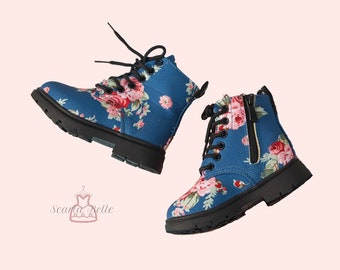 Blue Floral Lace Up Zip Side Toddler Girl Boots