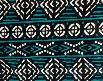 Turquoise bogolan fabric (50 cm coupon)