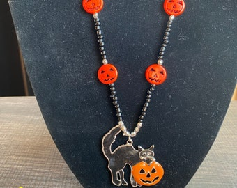 Spooky Black Cat and Pumpkin Necklace