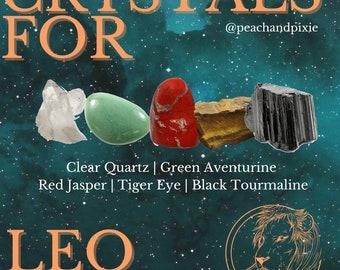 Leo Crystal Bundle, Ethically Sourced Healing Crystals Bundle for Leo Zodiac