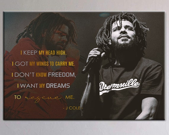 J COLE, J Cole Poster, Wall Art Gift For Men | Gift For Him | Personalized Gift Printable Wall Art Illustration - Framed Ready-To-Hang Gift