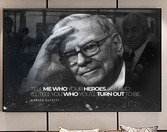Warren Buffett Quote HEROES Art Canvas - Warren Buffett Inspirational Art Canvas/Printed Picture Wall Art Decor. READY to Hang Gift. 48x36in