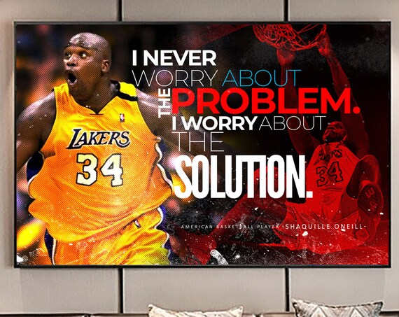 Shaquille O'Neal Basketball LSU Lakers Sports Team Art Quote, New Vintage Edition - Canvas Print Art Home Décor. Ready To Hang. Made In USA