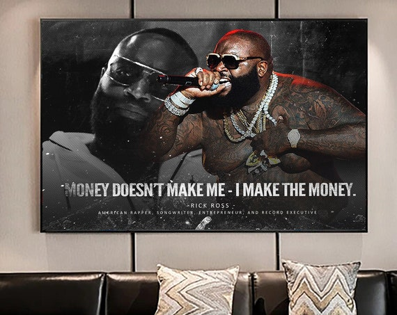 Rick Ross- Hip Hop Art Rap Music Success Quote Black and White Art Vintage Edition - Canvas Print Art Home Décor. Ready To Hang. Made In USA
