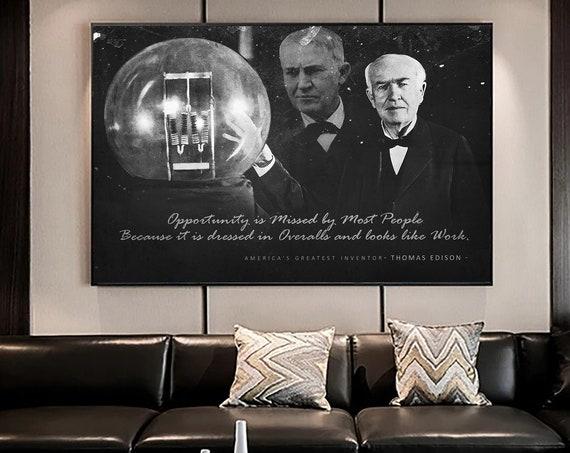 THOMAS EDISON - Motivational Wall Art Canvas Prints / Office Decor Modern Art / INVENTOR Gift, Custom Motivation, Framed Ready-To-Hang