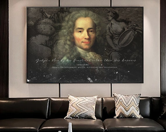 Voltaire Phrase & Quote for Classroom Decor, Library Decor, Office Decor, Large Wall Art, Antique and Famous Historic, Framed Ready-To-Hang