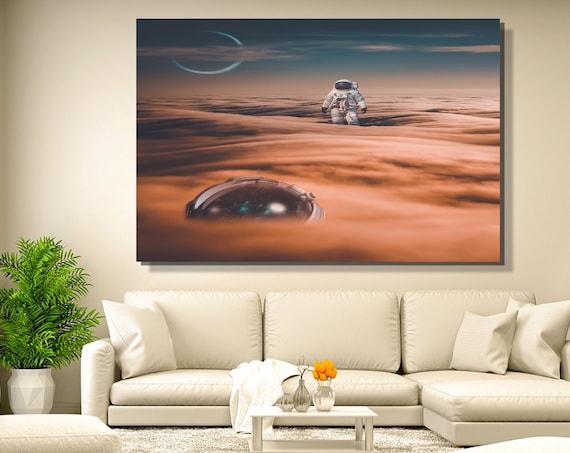 Lost - Space Art Canvas Prints / Office Decor Modern Art / Home Decor Custom / Housewarming Gift / Space Art Bedroom Decor, Astronaut Gift