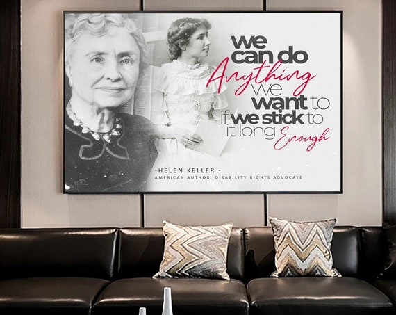 Hellen Keller Quote- Motivation Wall Art Canvas Prints / Office Decor Modern Art / Black and White Edition / Modern, Framed Ready-To-Hang