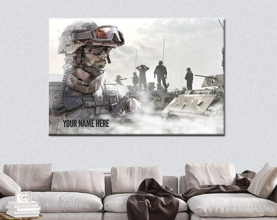 U.S. Army Wall Art, Personalized Name - Military Decor, Army, Military Gifts, Veteran Gifts, Military Retirement Gift, Patriotic Decor