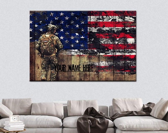"""Military Patriotic Artwork """"Your Name Here"""" personalized /Military Retirement/Change of Ceremony Gifts/ Farewell Gifts/ Military Gifts"""