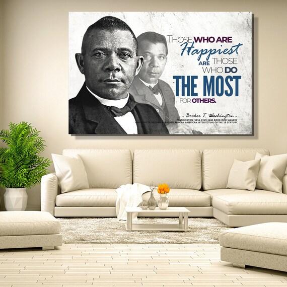 Great African Americans: Men | 48x36 | Booker T. Washington | Art Print | Wall Decor | Black Art | Black History | Framed Ready-To-Hang Gift