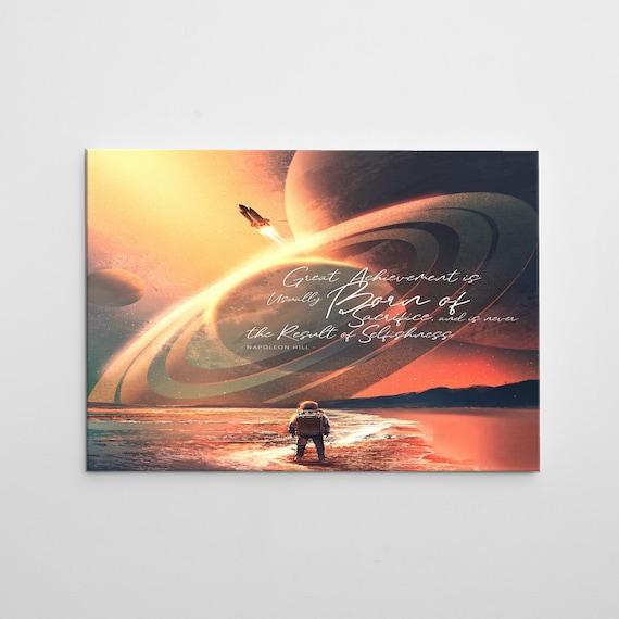 SPACE ART 'Left Behind', Modern Wall Art On Canvas, Abstract Art, Napoleon Hill Quote, Ocean Scene, Rocket Ships, Kids Art, Classroom Decor