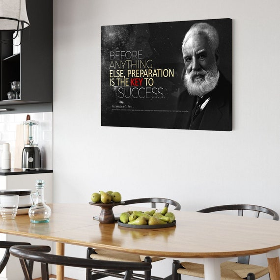Alexander Graham Bell Quote Black Edition - The Telephone, Preparation To Success, Canvas Print Art Home Décor, Framed Ready-To-Hang